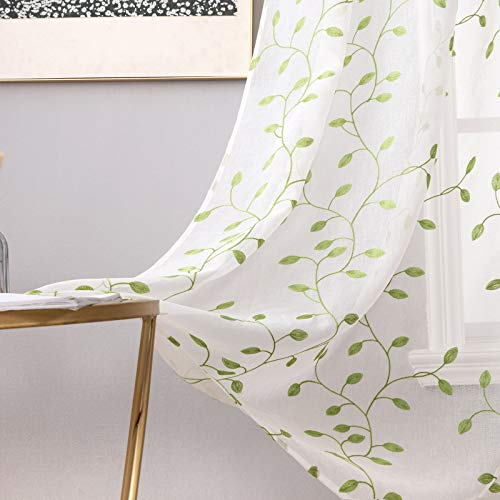MIULEE White Sheer Curtains with Embroidered Leaf Pattern for Living Room Decorative Elegant Grommet Embroidery Window Voile Bedroom Drape 2 Panels 54 x 63 Inches Green