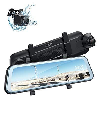 AUKEY Dashcam Spiegel 9.66 Zoll IPS Touchscreen 1080P FHD Frontkamera und Rückfahrkamera Wasserfes Autokamera Stream Media Dual Dash Cam mit WDR, Assistent vom Rückwärtsfahren