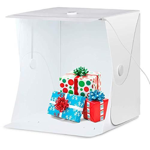 Amzdeal Tenda Studio Light Box Fotografico 40 * 40cm Portatile con 6000-6500K LED Strip + Supporto in Metallo + 4 Inferiore Canvas (Nero/Bianco/Blu/Verde)