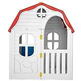 Casa de juegos de plástico plegable para niños, con ventanas abiertas, paredes y puerta con cerradura, para niños mayores de 2 años, 96 x 61 x 115 cm