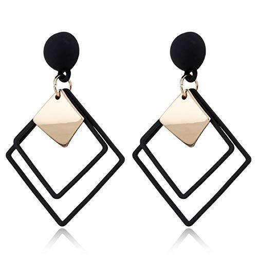 xiaofeng214 Pendientes de clip con diseño geométrico sin perforar, color negro