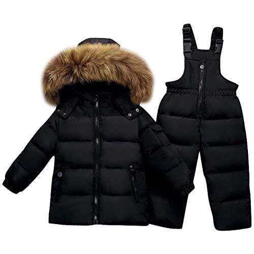 Odziezet Bébé Veste en Duvet pour Enfants Hiver Manteau épais 2PC Doudoune + Salopette Chaud pour Moto Ski L'école Noël 9 Mois-3 Ans