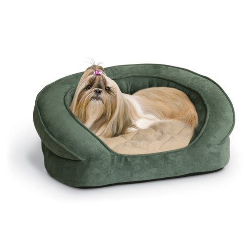 K&H Pet Products Deluxe Ortho Bolster Sleeper Pet Bed Medium Green Paw...