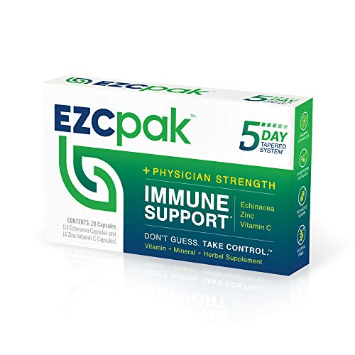 EZC Pak 5-Day Immune System Booster for Cold and Flu Relief (Single Pack) - Echinacea, Zinc, and Vitamin C, Physician Directed 5-Day Tapered Immune Support Dose Pack