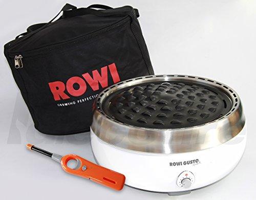 Holzkohle Tischgrill ROWI GUSTO Premium - Grillerette - Weiss, mit Tasche und Stabfeuerzeug