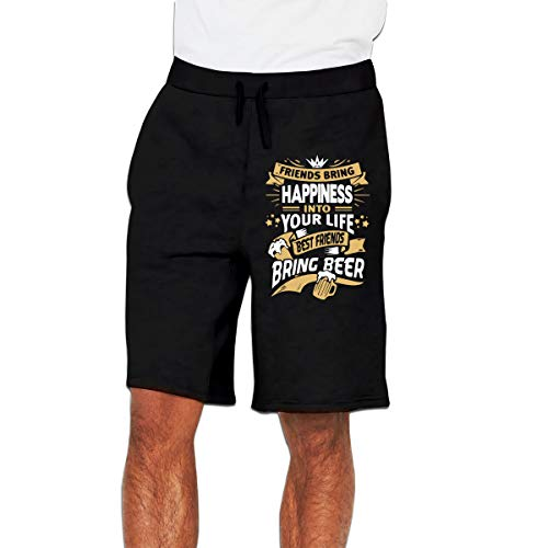MH08OMG Bring Happiness Into Your Life Best Bring Beer Men's Soft Loose-Fit Running Sweatpants Short Pants Black