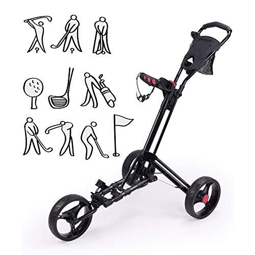 Rong-- Golf Cart Golfwagen Trolley Klappbar Golftrolley 3 Rad Schieben Sie Die Faltbare Hand Und Ziehen Wagen Mit Einstellbarem Griffwinkel, Scorecard, Zu Öffnen/Schließen
