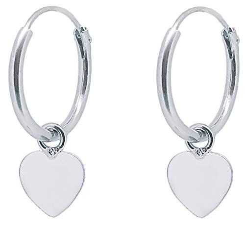 ENTREPLATA Pendientes Aro con Colgante de Plata de Ley 925 Corazón