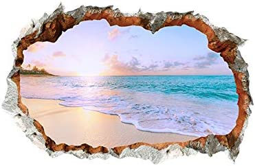 3D Broken Wall Removable Sunny Beach Wall Stickers for Bedroom Living Room Study TV Background product image