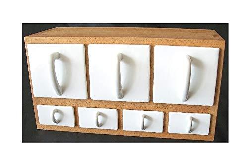 Schüttenkasten Holz inkl. 7 Vorrats- bzw Gewürzschütten - Schüttenregal T29 Schüttenkasten Fronten Keramik