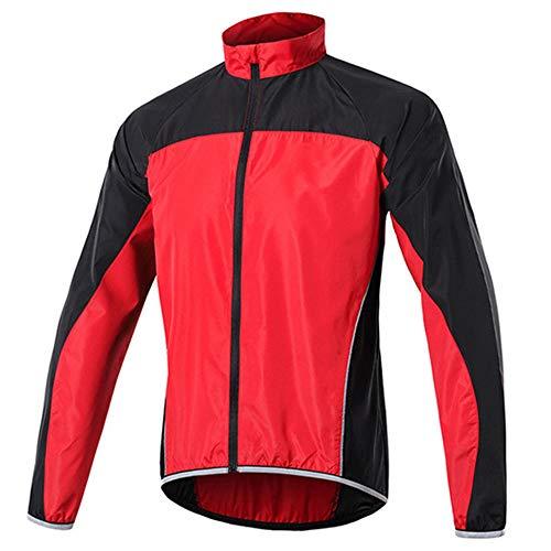KELIHAIL Herren Wasserdichte Fahrradjacke, Atmungsaktiv Reflektierende Windbreaker Laufjacke, Ultraleicht Softshell Mountainbike Mantel Sportbekleidung, für Outdoor, Radfahren und Laufen-Rot XXL