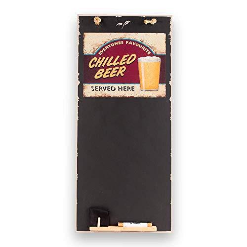 Kreidetafeln UK kühles Bier hoch dünn Kreidetafel/Tafel/Memo Küche Board mit Seil, Tablett & Kreide, Design Range, Holz, schwarz, 60x 26,5x 1cm