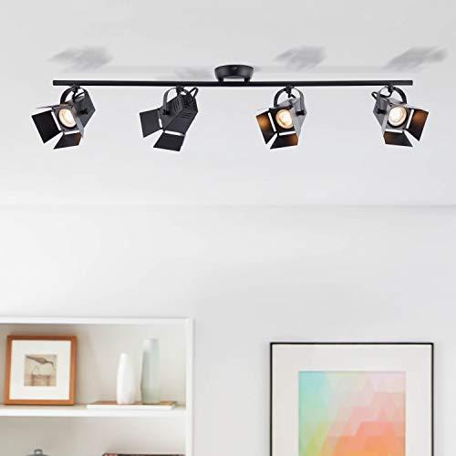 Lightbox LED Deckenleuchte, dimmbar, 4 flammig, Decken-Spot-Balken mit dreh- und schwenkbaren Spots, 4 x GU10 Fassung für max. 5 Watt, Metall, Schwarz