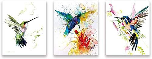 KAIRNE 3er Set Poster Vogel, Aquarell Kolibri Poster Kinderzimmer,Modern Bilder Tiere Babyzimmer,Mehrfarbige Leinwand Tierposter für Kinder,Wandbilder Dekoration für Wohnzimmer Schlafzimmer