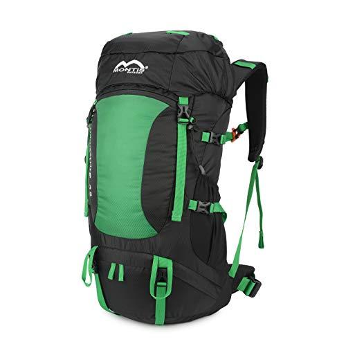 MONTIS WILDNATURE 42, Sport- / Wanderrucksack, Regenschutz, ausreichend Platz für längere Wander Ausflüge, geeignet als Biking, Touren- & Wanderrucksack mit Audio- & Trinkvorbereitung, (42L - Grün)