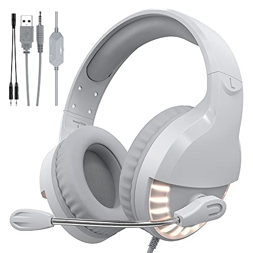 VersionTECH. Gaming Headset for PC PS4 PS5 Xbox One Controller;Over Ear Headphone with Crystal Stereo Bass Surround Sound, LED Light & Noise Cancelling Microphone for Mac PC Nintendo Switch Mac