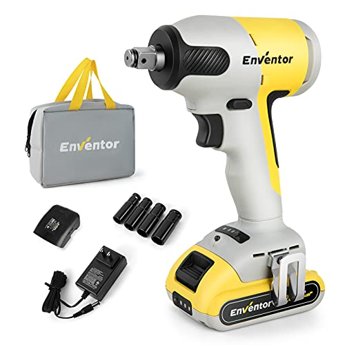 Impact Wrench,ENVENTOR 20V Max Torque 2700 in-lbs (300N.m) 2200RPM 3000BPM Power Impact Wrenches Set for Car, Cordless Brushless 1/2 Impact Gun,2.0Ah Li-ion Battery with Fast Charger and Tool Bag