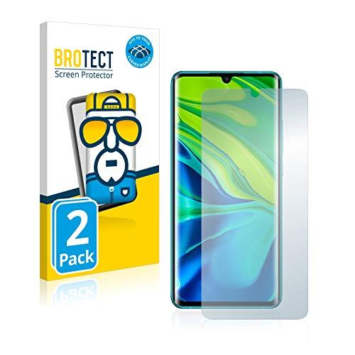 BROTECT Full-Cover Schutzfolie kompatibel mit Xiaomi Mi Note 10/10 Pro (2 Stück) - Full-Screen Bildschirmschutz-Folie, 3D Curved, Kristall-Klar
