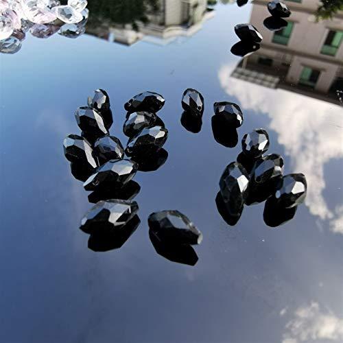 ERTERT 50PCS Clear Teardrop Crystal Beads Chandelier Crystals Prisms Pendants Wedding Decor Accessories DIY Jewelry (Color : Black)