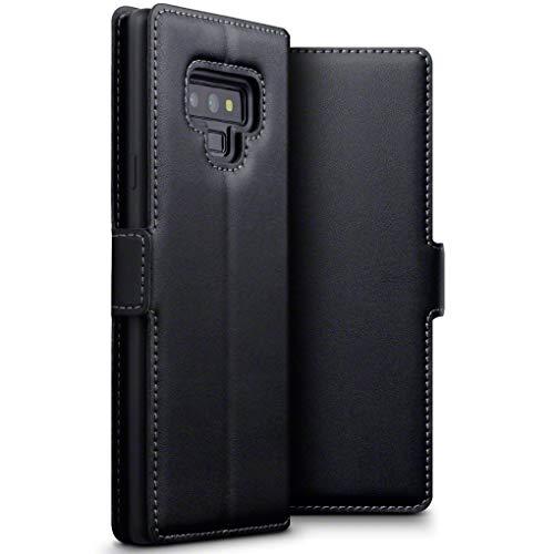TERRAPIN, Kompatibel mit Samsung Galaxy Note 9 Hülle, Premium ECHT Spaltleder - Slim Fit - Flip Handyhülle Samsung Galaxy Note 9 Tasche Schutzhülle - Schwarz