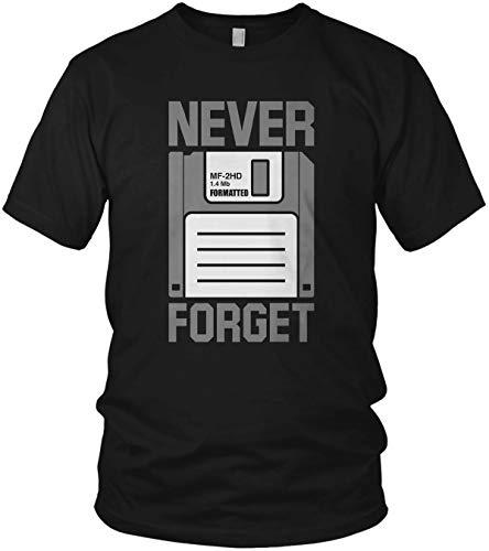 Never Forget - Diskette Floppy - Nerd Geek 80er - Herren T-Shirt und Männer Tshirt, Farbe:Schwarz, Größe:L