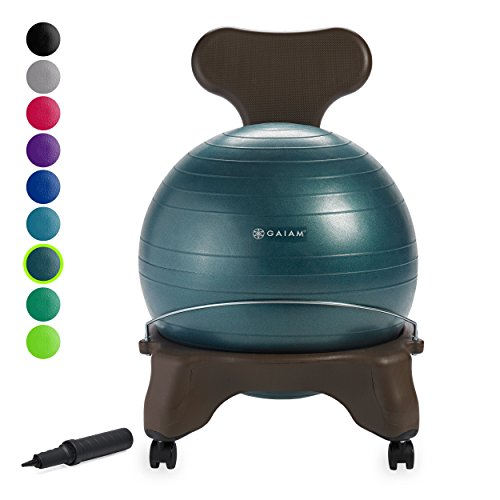 Gaiam Classic Balance Ball Chair – Exercise Stability Yoga Ball Premium Ergonomic Chair for Home and Office Desk with Air Pump, Exercise Guide and Satisfaction Guarantee, Forest