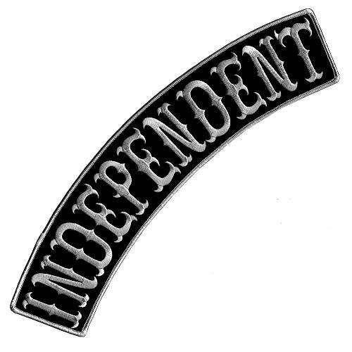 VEGASBEE Independent Patch, bestickt, Rocker, Bikerjacke, Reiterweste, Größe XL, 33 cm, USA (Schwarz-Grau)