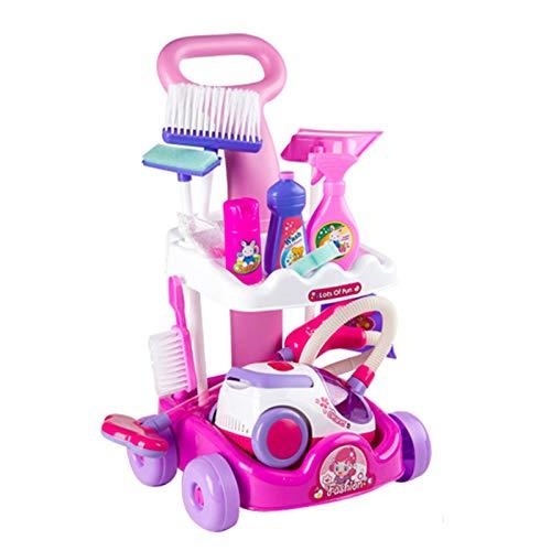 Anmy Broom Trolley i con la Escoba de trapeador y Mucho más Carretilla de Limpieza de Juguetes y aspiradora Kit de Limpieza de Juguetes (Color : Pink, Size : 51x27x28cm)