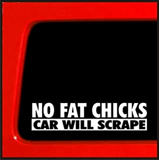 No Fat Chicks Car Will Scrape sticker boxed lowered JDM Stanced Vinyl Decal Funny Tuner Race