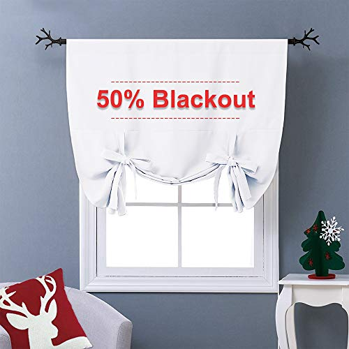 NICETOWN Thermal Insulated Blackout Curtain - Pure White Tie Up Shade for Small Window, Window Valance Balloon Blind (Rod Pocket Panel, 46 inches W x 63 inches L)