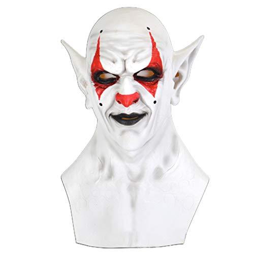 YOUAI Halloween Props, Halloween Scary Imp Demon Full Head Mask Horror Clown Elf Latex Cosplay Costume-Red and Black Imp