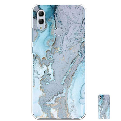 HopMore Silicone Coque pour Huawei P Smart 2019 / Honor 10 Lite Souple Motif Marbre Bumper Marble Belle Coque Protection, Etui Antichoc Antidérapant Housse pour Fille Femme Homme - Bleu Clair