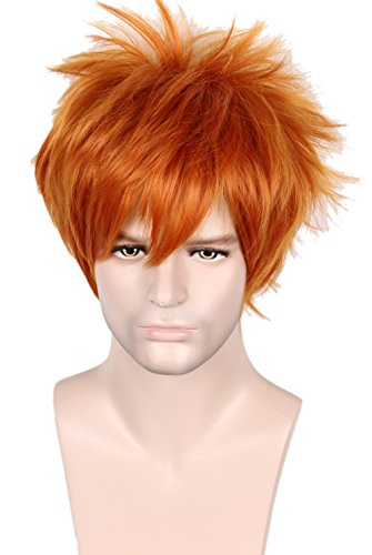 Linfairy Unisex Short Straight Orange Red Cosplay Wig Halloween Costume Full Wig for Men