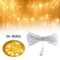 Galapara クリスマス イルミネーション 窓飾り カーテンライト クリスマスライト ストリングライト、USB式 イルミネーションライト5m 50LEDs の球のひもライト装飾的なライト、クリスマスの結婚式の家のための妖精ランプ