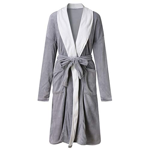 Terby Damen Revers dicken warmen Taschengürtel mittellangen Pyjama Bademäntel...