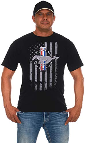 JH DESIGN GROUP Men's Ford Mustang Black T-Shirt Distressed American Flag...