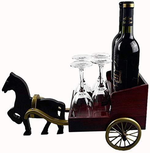 Wijnrek massief hout vervoer Europese kabinet decoratie wijnglas houder door paarden getrokken woonkamer wijn 44.5x28.5x38.5cm rek van de wijn WKY