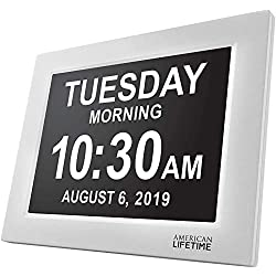 American Lifetime [Newest Version] Day Clock - Extra Large Impaired Vision Digital Clock with Battery Backup & 5 Alarm Options (White)