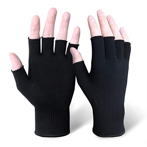 EvridWear Natural Silk Knitted Full and Half Finger Gloves Liner UV Protection Hypoallergenic Men Women All Season for Running, Biking, Motorcycling, Driving, Fishing, Hiking (L/XL Half Finger)