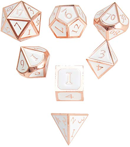 DND Polyhedral Metal Game Dice Rose Gold White 7pc Set for Dungeons and Dragons RPG MTG Table Games D&D Pathfinder Shadowrun