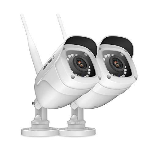 ANNKE Videocamere IP Bullet da Interno e Esterno 2 × 1080P, Visione Notturna 100ft con Smart IR, Accesso Remoto