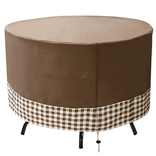 JLDUP Patio Table Cover, 36 Inch Round Table Furniture Cover Waterproof & Wear-Resistant for Outdoor (62' Dia x 27.5' H, Brown)