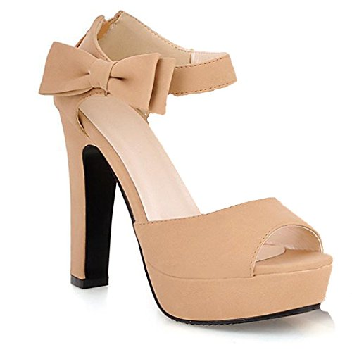 Minetom Damen Sommerschuhe Elegante Pumps High Heels Sandalen Abendschuhe mit Bowknot Aprikose EU 35