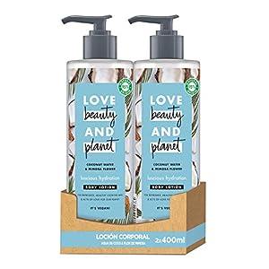Love Beauty and Planet Loción corporal para Piel fresca y saludable, Agua de Coco y Flor de Mimosa Vegano - Pack de 2 x 400 ml (Total: 800 ml)