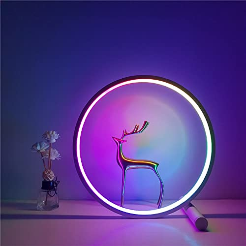 Tischleuchte LED Nachttischleuchte Tischleuchte Dimmbare Fernbedienung Tischleuchte Bunte Leuchte Energiesparender Augenschutz Helligkeitsregelung Leseleuchte (weiß)