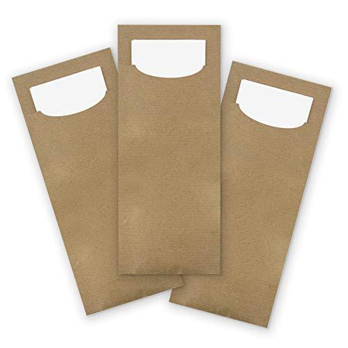 itenga 24x Bestecktasche aus Kraftpapier braun mit weißer Serviette Besteckserviette