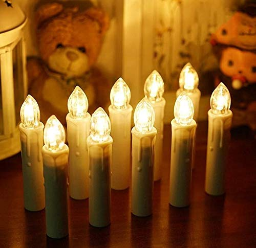 Mtawou - Guirnalda de 30 luces LED para árbol de Navidad, con pilas, temporizador, sin llama, inalámbrica, con mando a distancia, impermeable, para bodas, cumpleaños, iglesia