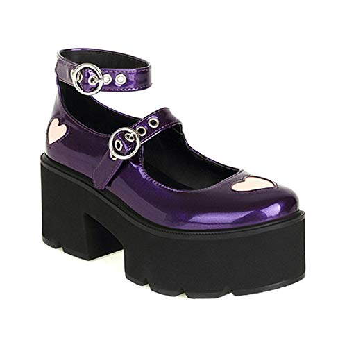 Zapatos Mary Jane para Mujer, Zapatos de Corte Retro con Plataforma y Punta Redonda, Zapatos de Vestir de Oficina con Hebilla de Boca Baja y Concisa
