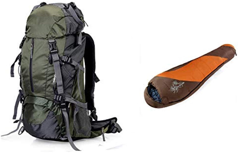 LXMBox Borsa da alpinismo impermeabile per esterni Zaino da 60 litri ad alta capacità Zaino da escursione per escursionismo per uomini Donne Campeggio Arrampicata a piedi,E