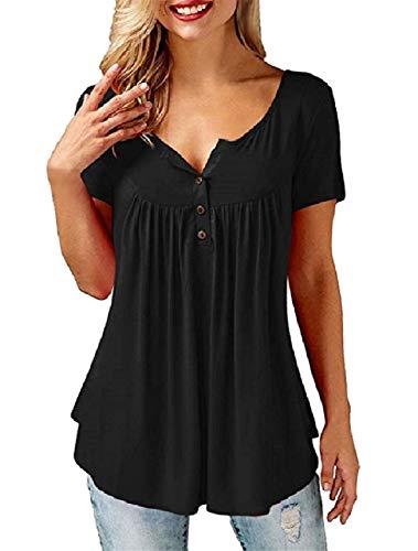 UMIPUBO Camiseta de Mujer de Manga Corta con Estampado Informal con Botones Sueltos Camisas de Verano básicas con Cuello en V Elegantes Blusas de algodón para Mujer(Negro B, XL)